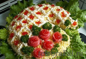 Вкусный салат с семгой