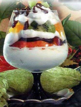 десерт с фруктами и мороженым