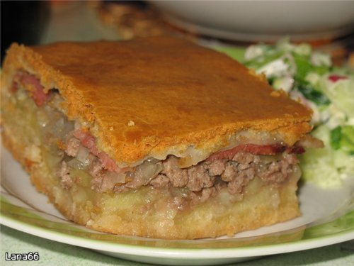 рецепт кулебяка с мясом и картошкой
